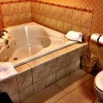 Inviting spa tub. Watch TV while soaking.