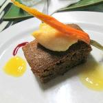 Carrot cake with orange blossom jelly and orange sorbet