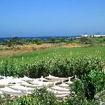 Vue de la terrasse sur mer et piscine