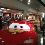 Lightning McQueen & his buddy, Mater at museum entrance