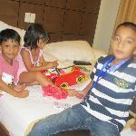 kids playing at our bed