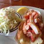 A Naked Lobster Roll with Fresh Cole Slaw