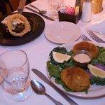 Horseradish encrusted Filet Mignon, Crabcake dinner