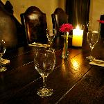 Table set for food in the minstrels gallery