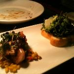 mushroom&brioche and prawns and pork belly