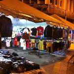 Stalls selling clothes throughout the night.