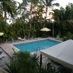 View of the pool area from the second floor.