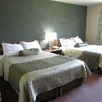 Room with two double beds.