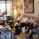 The Fountains @ Canterbury Residents in the hotel lobby ready to head for the train station!
