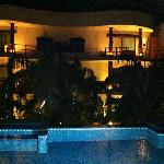View of the hotel from the pool area at night
