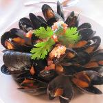 Delicious mussels and such attention to presentation.