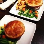 Mains: Chicken and leek pie and steak and ale pie