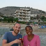 Couple enjoying a cocktail on the pontoon