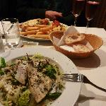 Mains: Lasagne and sea bass salad