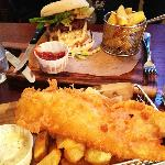 Burger and fish & chips