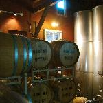 Fermentation tanks and barrels at Hopkins Vineyard