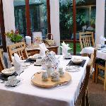 Breakfast served in the conservatory