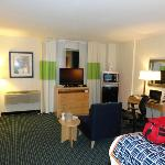 Room 251 with TV, microwave, fridge, king bed