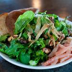 Cornerstone Sweet Salad, mixed greens, caramelized onions, beets and walnuts