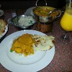 Chicken tikka masala and mango lassi