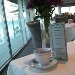 Menu, tea and Fresh Flowers