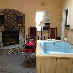fireplace, 2 rockers, jacuzzi tub-This is across from King bed-Cabin 15