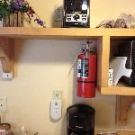Toaster, coffee maker, cutting board, microwave - Cabin 15