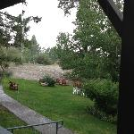View from Cabin 15,partial view of grass area. Summer thunderstorm.