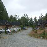 The driveway lined with cottages on both sides