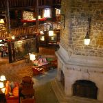 Lobby of the hotel and the impressive fireplace.