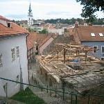 Part of the old city and an old building being renovated
