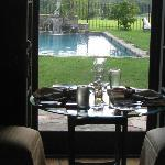Dining room full so we were placed in Hunt Room with a view of the pool and grounds.