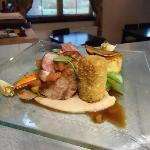 Lamb Rump, Neck and Tongue with Cannelloni Bean Puree, Confit Garlic and Sweet and Sour Balsamic