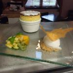 Pineapple Souffle with Coconut Sorbet and Mango, Kiwi Fruit and Pineapple Salad