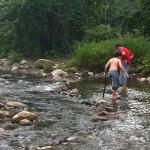wading in a mountain stream