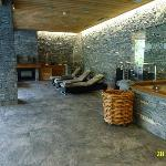 VIEW INSIDE THE SPA AREA OF HOTEL LE FER A CHEVAL IN MEGEVE.
