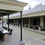 Outdoor seating on the old fish market counters