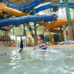 view of the slides from the wave pool