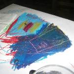 Nice touch - we had crayons and we could draw on the paper table wrapping - children and us love