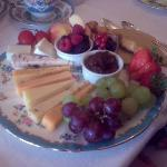 Breakfast: selection of Scottish cheeses, and chutney, and fruit, and...