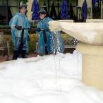 One way to clean a fountain...