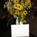 Our Anniversary flowers and card from Lester and Diane