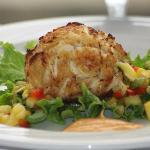Jumbo Lump Crab Cake Appetizer with Fresh Mango Salsa