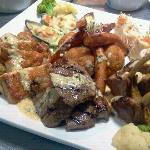 hearty meat and seafood platter..