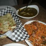 Lamb Palak and Biryani garlic naan