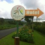Road sign for the hotel