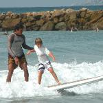 Surfing with Jose by the Hotel's Beach Club