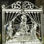 These gates were designed with a Gilbert and Sullivan Theme