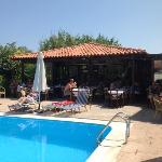 taverna is the centre of it all, breakfast, dinner, drinks round the pool