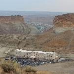 View of hotel from the mountain we hiked.